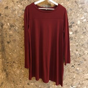 Cranberry Asymmetrical Tunic with Button Detailing
